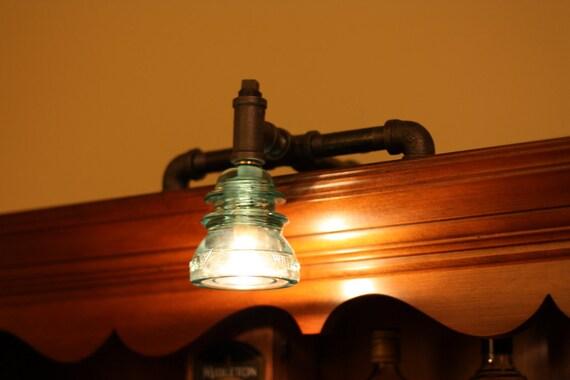 Unique Industrial Bookshelf Lamp with Antique Glass Insulator