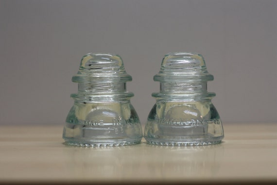 Two Pre-drilled Ice Blue Hemingray Vintage Glass Insulators