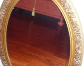 RESERVED Large Hollywood Regency Oval Gold Mirror 60s