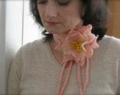 SALE - Flower Felt Pin  or Neck Collar in Salmon Pink