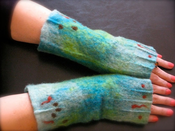 Nuno Felted Arm Warmers , Fingerless gloves  in Forest Green