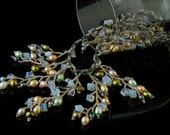 Three colors pearls and opal necklace