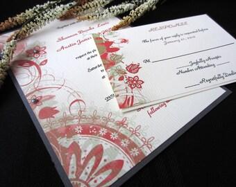 Art Deco Red, Green and Cream Invitation Sample, Modern, Chic, Retro Wedding Invitation, Wedding Invitations
