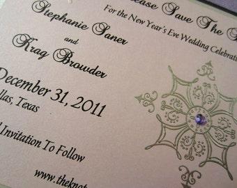 Metallic Snowflake Save The Date Sample, Silver and Black Invitation, Elegant, Classic, Traditional, Formal Invitation