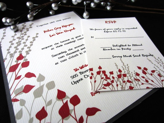 Red and Gray Asian Flair Invitation Sample