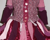 Girls Recycled Gypsy/ Faery Sweater Coat Pink/red/purple