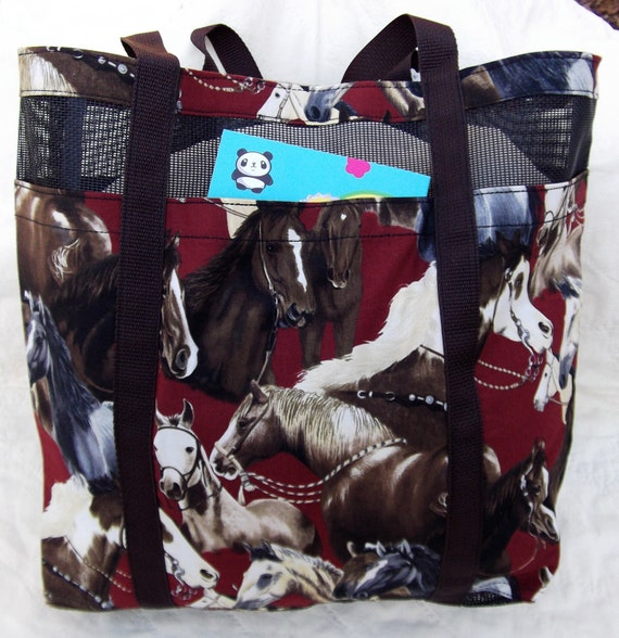 Horse Tote/ Beach Bag made with Pet Screen