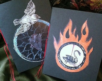 Handmade Mini-Notebooks - Bird / Stained Glass Heart, Swan and Flame