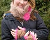 Crochet Neck Scarf Cowl & Fingerless Glove Set