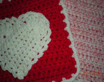 Crochet Heart Valentines Day Pot Holders/Hot Pads
