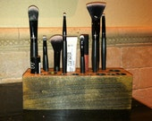 EBONY Stained- Handmade Wooden Makeup Brush Holder & Bathroom Organizer
