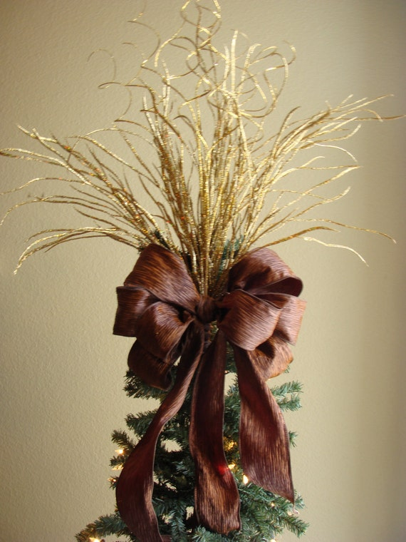 Chocolate brown and gold christmas tree topper by Brown and gold christmas tree