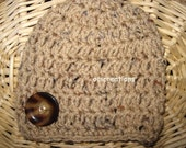 Crochet Cocoon Hat Set In Buff Fleck (tan) READY To SHIP Newborn Boy Or Girl Photo Prop