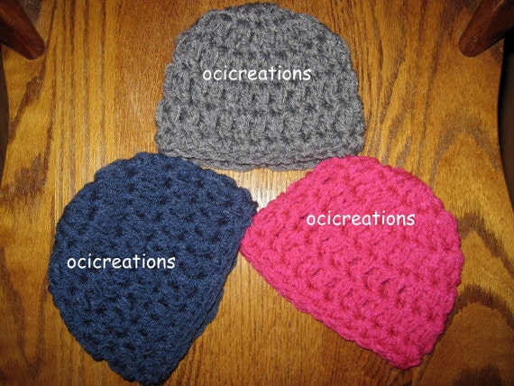 3 Crochet Baby Hats Boy Girl Photo Props In Shocking Pink Navy Blue Charcoal READY To SHIP Newborn Chunky