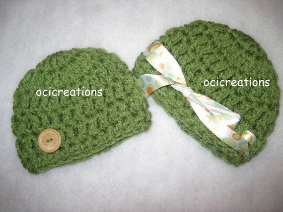 Crochet Twin Baby Hats Girl Boy Photo Props In Green (tea leaf) READY To SHIP Newborn