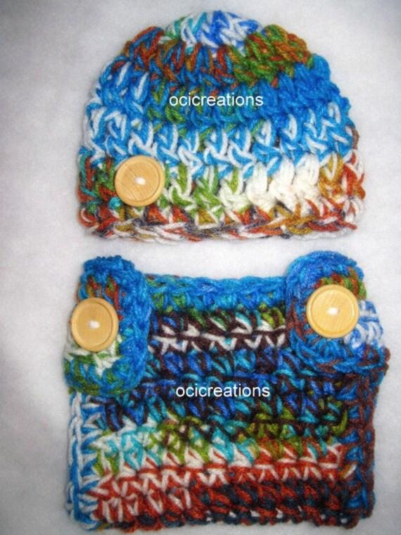Chunky Crochet Baby Diaper Cover Hat Set Photo Prop Peruvian READY To SHIP Newborn Boy