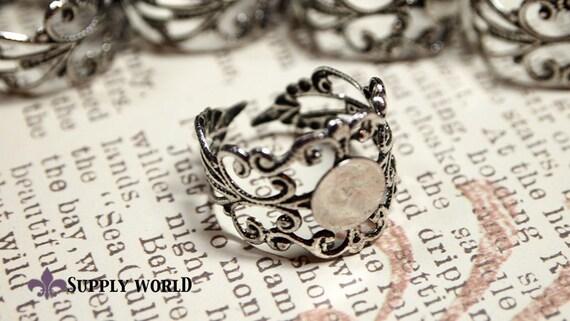 Antique Silver Ring Base - Silver Filigree Ring Base 5 pcs ...