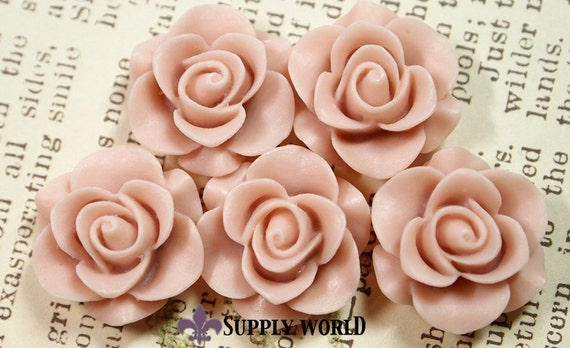 Resin Cabochon - 5pcs - Flower Cabochon - Victorian Pink - Cabochon - SW46-6