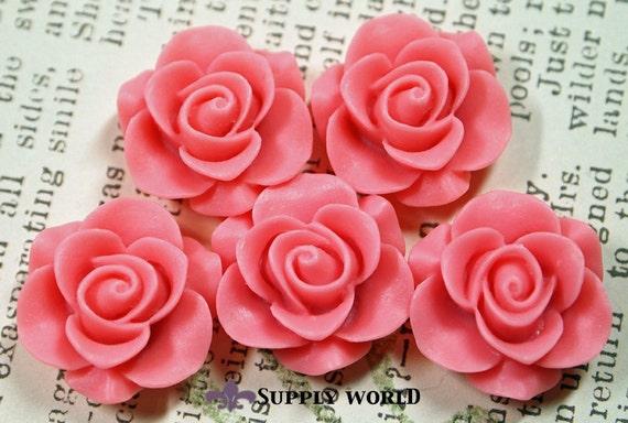 Resin Cabochon - 5pcs - Flower Cabochon - Pink - Cabochon - SW46-8