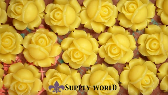 Resin Cabochon - 5pcs - Flower Cabochon - Yellow Flower Cabochon - Cabochon - SW95-3