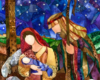 """Giclee reproduction of original watercolor painting """"One Silent Night"""" 8""""x10"""""""