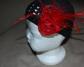 Black Valentines Croched Kufi Hat with red ranniculus and red maribou feather