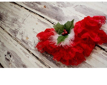 Lace Diaper cover Bloomers for Christmas or Any Occasion. Red lace with berries and feathers with matching headband