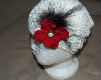 White Croched Kufi Hat with red hydrandia and black maribou feather