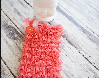 Springtime Lace Coral Romper contains, Coral Hydrangia's,pearls and feather embellishments.