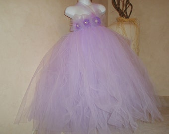 Lavander Vintage Tulle Dress with handrolled rosettes and beautiful rhinestone button