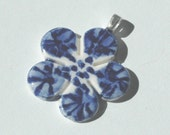 Blue and white - Delft blue contemporary  porcelain pendant - little flower - free shipping