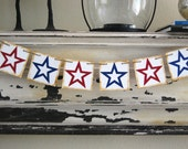 4th of July Vintage Patriotic Banner Garland Pennant- Stars - Red White Blue - Decoration or Photo Prop