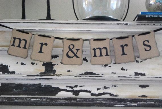 MR & MRS - Bride and Groom - Wedding Banner Decoration - Engagement Party, Wedding Shower, wedding or photo prop