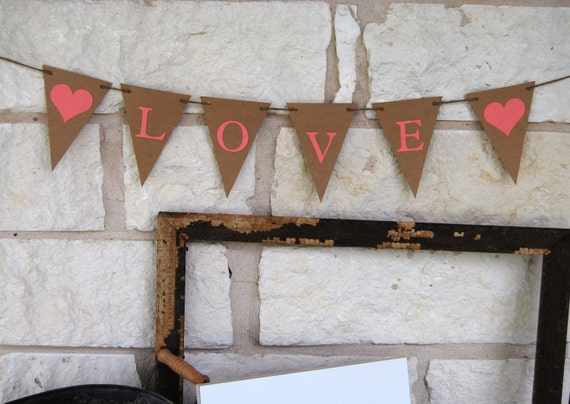 Love Banner Bunting Garland - Wedding Banner - Pennant Banner - Engagement or Wedding Photos - Wedding Shower Decor