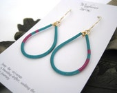 14K Gold Fill and Gold Plated Turquoise and Fuchsia Pink Wire Wrapped Teardrop Hoop Earrings