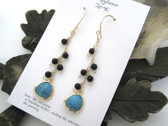 14K Gold Filled and Gold Plated Turquoise and Matte Black Chain Dangle Earrings