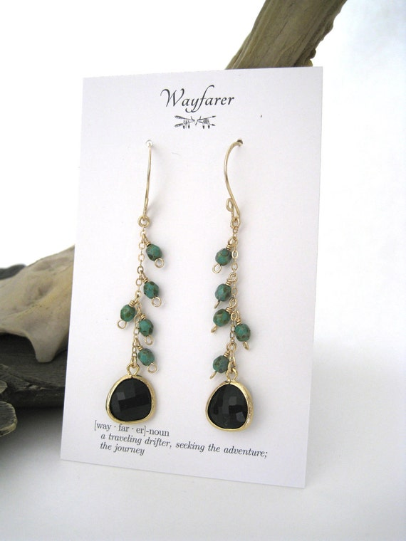14K Gold Fill and Gold Plated Black and Turquoise Chain Dangle Earrings