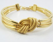 RESERVED LISTING  - Sailor's Sweetheart Knot Bracelet - Metallic Gold Leather