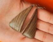 Wooden earrings, Walnut, Handmade, Wood