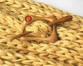 Wooden shawl pin, Hair barrette with stick, Hairpin,Wood,Walnut, Padauk, Handmade