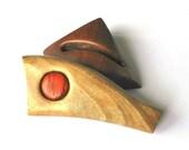 Wooden hair barrette, Hair clip, Wood,Walnut, Padauk, Handmade
