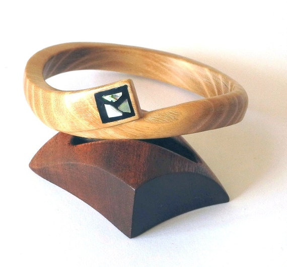 Wooden Bangle, Mother of pearl, Bracelet, Ash tree, Handmade,Wood