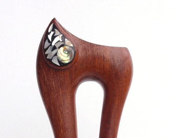 Wooden hair fork, 2 prong, Hair sticks, Wood, African wild seringa, Mother of pearl, Hairpin, Handmade