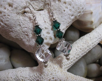 Clear Cube & Green Crystal Earrings