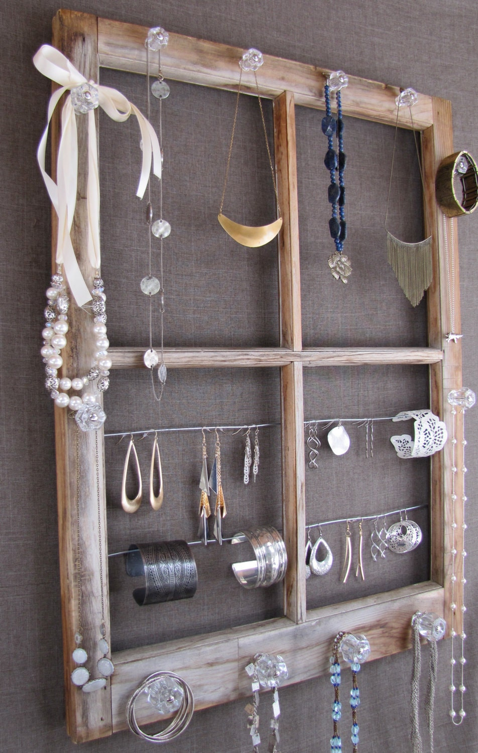 Repurposed window pane jewelry display for Repurposed jewelry holder