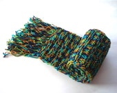 knit scarf mens scarf, Knitted long Mens Scarves, Chunky unisex scarf, orange turquoise violet and green crochet scarf, gift for women men