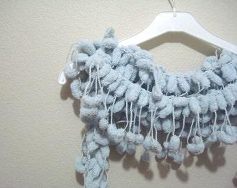 SALE pom pom scarf, Grey Pom Pom Scarf, nice gift for Women, pon pon scarf, pompom scarf, crochet pom pom scarf, mulberry scarf CLEARANCE