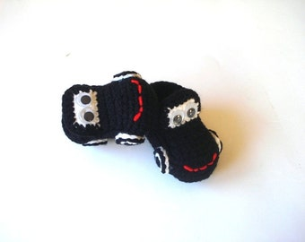 baby booties, crochet baby shoes, black Cars Baby Booties, baby slippers, newborn shoes booties 0 12 month baby, baby shoes, Christmas baby