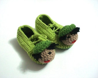 baby booties, green boy  baby slippers, crochet baby shoes, crochet baby booties 6 - 12 month baby, crochet baby shoes, baby socks