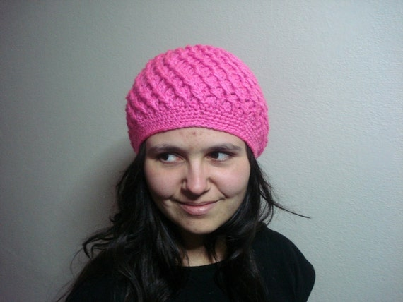 SALE CLEARANCE Pink Crocheted Woman Girl hat gift for women, gift for women, girls hat, womens hat, neon pink soft hat